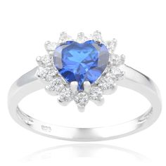 Journee Collection Sterling Silver Cubic Zirconia Heart Engagement Ring (Light Blue, 7), Women's