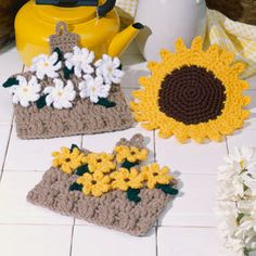 Crochet flower potholder pattern|Pot holder bouquet crochet e patterns- LeisureArts