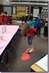 """Valentine Party Minute to Win it game Ideas (passing a tissue paper heart using clothes pins w/out """"breaking"""" the heart, sucking m's up with straw and put into a different cup, move across the room using two hearts so you don't fall into the lava."""