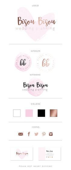 Watercolor Logo Design By Polka Dot Heart Designs   Watercolor Logo Design | Wedding Planner Logo | Party Planner Logo | Photography Logo | Watermark Logo | Etsy Logo | Logo Inspiration | Brand Design | Brand Identity | Brand Board