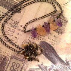 A personal favorite from my Etsy shop https://www.etsy.com/listing/231130790/rock-candy-necklace-amethyst-and-citrine