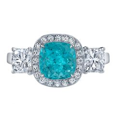Timeless and Rare Paraiba Tourmaline and Diamond ring by Tamir. What an amazing color!!!