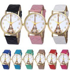 8c4d2a98de0 2017 Romantic Paris Eiffel Tower Women Faux Leather Analog Quartz Wrist  Watch Best Lovers Watches Relogio