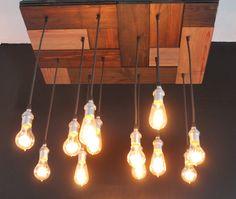 Conference or Lobby light idea - Mosaic style reclaimed pine floor light with edison bulbs via Etsy