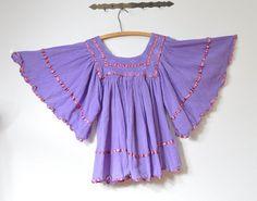 Gauze Cotton Vintage 1970s  Oaxacan Ethnic Lavender Sold