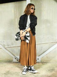 プリーツスカート|ブルゾン×プリーツスカート