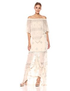 Crinkle chiffon maxi dress with intricate embellished crochet details. Tie details around lower hem.
