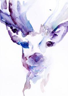 "Print of Original Watercolor Painting, Titled: ""Deer"" by Jessica Buhman 11 x 14 Pink Purple Yellow Blue Brown Black Reindeer Watercolor Deer, Watercolor Animals, Watercolor Paintings, Watercolor Design, Watercolours, Love Painting, Painting Prints, Woodland Art, Oh Deer"