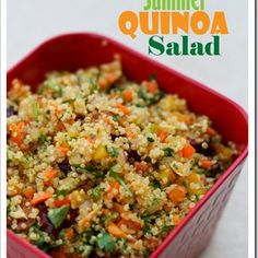 Summer Quinoa Salad Recipe Salads with water, quinoa, red bell pepper, yellow bell pepper, purple onion, curry powder, chopped cilantro fresh, lime, toasted slivered almonds, carrots, dried cranberries, salt and ground black pepper
