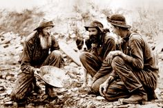 Old time miners in the Colorado Gold Rush