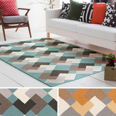 Grey,Orange,8' x 11',Contemporary,Modern 7x9 - 10x14 Rugs: Use large area rugs to bring a new mood to an old room or to plan your decor around a rug you love. Free Shipping on orders over $45!
