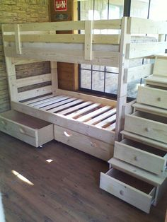 Stackable twin over twin with storage drawers and stairs (with storage drawers).