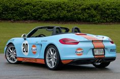 Porsche Boxster 2013 Gulf Racing livery (3/4 view)