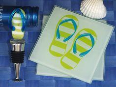 Murano collection Flip flop design Coaster and bottle stopper set #flipflop #winestopper #coaster