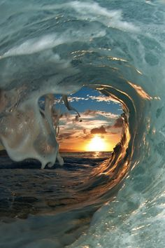"sunset through a wave ""window"""