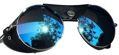 Road Vision Round Lens Motorcycle Sunglasses Steampunk Cycling (Chrome, Blue Mirror)