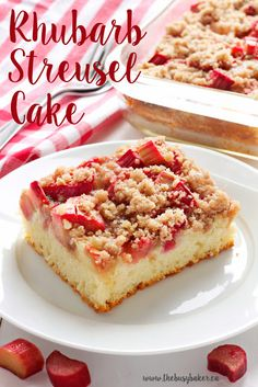 This Rhubarb Streusel Cake recipe is just like Grandma used to make! It's the perfect tender cake recipe with fresh rhubarb and a sweet and crispy streusel topping! Recipe from thebusybaker.ca! #rhubarbcake #streuselcake #sheetcake #rhubarbdessert