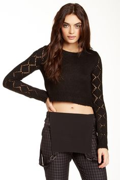Lucca Couture Long Sleeve Crop Sweater by Lucca Couture on @HauteLook