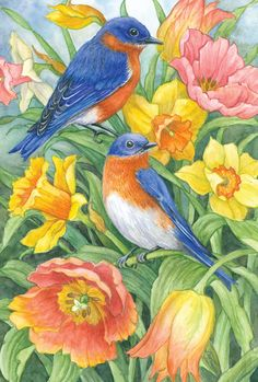 Toland Home Garden Eastern Bluebirds 28 x 40 Inch Decorative Spring Summer Bird Orange Flower House Flag House Flags, Vintage Birds, Outdoor Art, Orange Flowers, Garden Flags, Bird Art, Bird Feathers, Beautiful Birds, Blue Bird