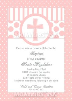 Pink First Communion or Baptism Invitation Girl  por MommiesInk, $12.00