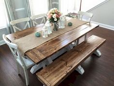 Farmhouse dining table and bench farmhouse table bench home ideas decor farmhouse dining table bench plans . farmhouse dining table and bench Farmhouse Kitchen Tables, Kitchen Table Decor, Farmhouse Table With Bench, Farmhouse Table Plans, Kitchen Table Centerpiece, Kitchen Table Chairs, Dining Room Table, Rustic Kitchen, Rustic Dining Table