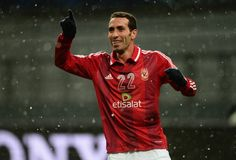 Mohamed Aboutrika of AlAhly celebrates after scoring during the FIFA Club World Cup Quarter Final match between Sanfrecce Hiroshima and AlAhly SC at...