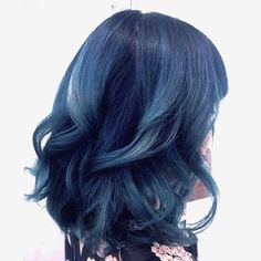 """dark blue roots to #teal ends using #goldwellelumen the longest lasting most resilient direct-dye I've ever used!  curled with 1.5"""" barrel"""