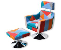 New Armchair Stool Patchwork Retro Arm Sofa Seat Recliner Chair Lounge Dining TV Pouf Design, Fabric Design, Design Club, Fabric For Sale Online, Retro Sofa, Kitchen Family Rooms, Sofa Seats, Patchwork Designs, Chair Bench