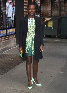 For the sake of looking pulled together, color coordinate a couple elements of your outfit, as this will quickly ensure you look unified. Lupita Nyong'o chose a pretty palette of greens including a Peter Pilotto Stretch Silk Mira Dress ($1666) and Manolo Blahnik BB Pointy Toe Pumps ($595) in Mint.