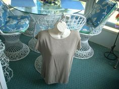 Women's Jessica Michelle Knit Top Taupe Ribbed Scoop Medium #JessicaMichelle #KnitTop #Career