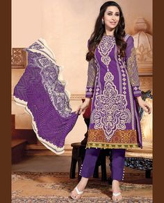 Purple printed pant style suit   1. Purple lawn cotton suit2. Comes with matching bottom and dupatta3. Can be stitched upto bust size 42 inches