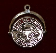 *Birthplace of the National Anthem* Sterling Silver Fort Mc Henry Spinner Charm Baltimore Souvenir Travel Charm