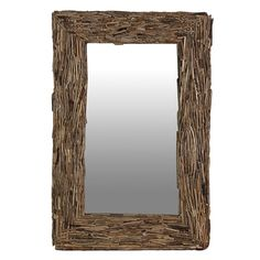 Beautiful large rectangular driftwood wall mirror, unique and individual item. Large natural wood mirror available today, add to cart. Driftwood Coffee Table, Driftwood Frame, Driftwood Furniture, Reclaimed Furniture, Large Wooden Mirror, Luxury Wedding Gifts, Coach House, Restaurant Interior Design, Contemporary Furniture