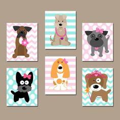 Girl DOG Nursery Wall Art CANVAS or Prints Baby Girl by TRMdesign