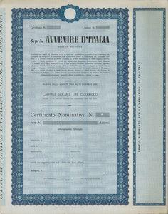 AVVENIRE D'ITALIA SPA - #scripomarket #scriposigns #scripofilia #scripophily #finanza #finance #collezionismo #collectibles #arte #art #scripoart #scripoarte #borsa #stock #azioni #bonds #obbligazioni