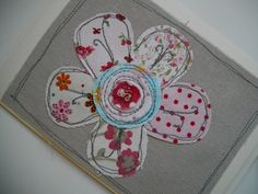 Handmade Machine Embroidered Card, Pretty Flower Design, Birthday, Anniversary, Mothers Day
