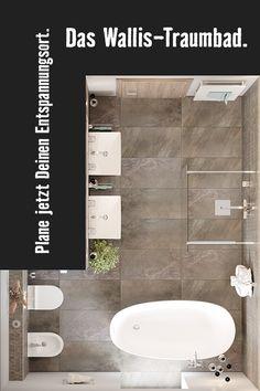 Das Wallis-Komplettbad für Dein Zuhause. Hier geht's zum Sortiment. Wallis, Planer, Bathtub, Bathroom, Freestanding Tub, Guest Toilet, Flooring Tiles, Floor Layout, Remodels