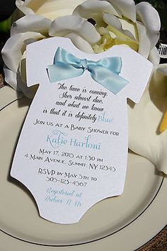 109 best baby shower images on pinterest baby shower boys baby baby shower invitation for boy in shape of onesie with blue satin bow filmwisefo