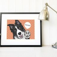 A great gift for dog lovers, Border Collie owners or anyone wanting an original piece of dog art. This listing is for an A3 Border Collie giclee pop art print available in five colourways. This print can also be customised with your own words #bordercollie #dogart #collie #sheepdog