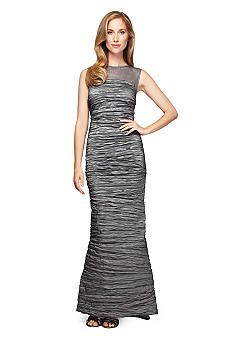 Alex Evenings Sleeveless Gown with Illusion Neckline