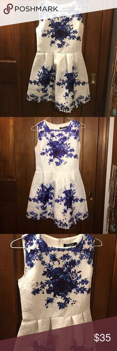 Sleeveless Floral A-line Skater Dress NEVER WORN, tags included. OASAP dress. Purchased for my graduation, but decided last minute to wear something else. Beautiful blue floral on a white background is stunning when you put it on! OASAP Dresses Mini
