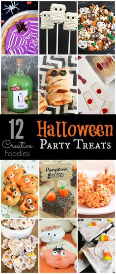 12 great Halloween party food recipes that cover everything from easy Halloween dinner ideas to healthy desserts, cheap appetizers, and more! Perfect for adults, for kids, and for everyone in between! I can't wait to try the mini monster rolls! Halloween Snacks, Halloween Party Drinks, Halloween Dinner, Party Food And Drinks, Easy Halloween, Vintage Halloween, Halloween Crafts, Hallowen Party, Halloween Baking