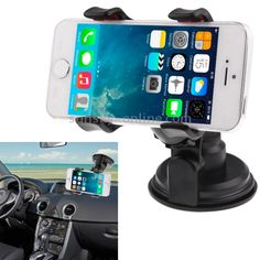 Universal 360 Degree Rotation Suction Cup Car Holder / Desktop Stand for Smartphones Size Range less than 9 Inch(Black)
