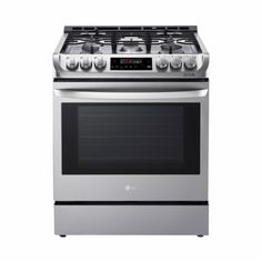 LG - 6.3 Cu. Ft. Slide-In Gas Convection Range - Stainless steel - Front_Zoom
