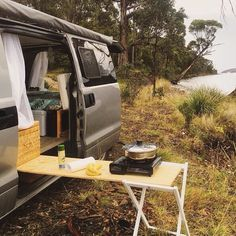 It's women crush Wednesday and today is all about the ladies living the vanlife. Check out this DIY no tools needed slide out kitchen created. This is being added to the vanhack file for sure. Check out Sarah's Insta at for. Van Camping, Camping With Kids, Camping Guide, Camping Hacks, Camping Ideas, Camper Van Conversion Diy, Van Living, Diy Camper, Ford Transit