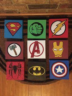 Items similar to superhero canvas on etsy Small Canvas Paintings, Easy Canvas Art, Small Canvas Art, Mini Canvas Art, Kids Canvas, Acrylic Canvas, Canvas Painting Tutorials, Diy Painting, Beginner Painting