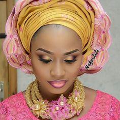 Loving this look. mua @bolalittlenefertiti #mua #weddingvendor #gele #tradlook #beads #lips