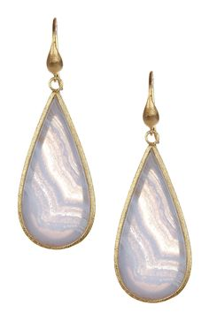 Rivka Friedman | 18K Gold Clad Blue Lace Agate Sliced Teardrop Earrings