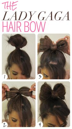 Lady Gaga Hair Bow: Next crazy hair day Pretty Hairstyles, Cute Hairstyles, Simple Hairstyles For Medium Hair, Fast Easy Hairstyles, Wedding Hairstyles, Hair Simple, Everyday Hairstyles, Latest Hairstyles, Lady Gaga Hair
