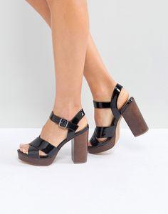 585c16d63bfc ASOS TIA Casual Platform Sandals - Black Strappy Sandals